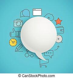 ikony, media, abstrakcyjny, nowoczesny, mowa, skład, chmura