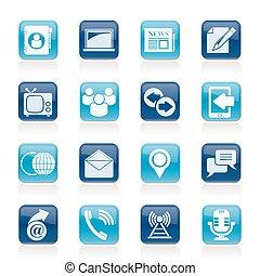 ikony, media, komunikacja