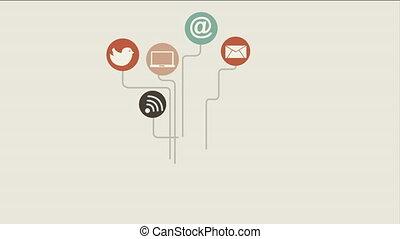 ikony, media, ożywienie, video, towarzyski