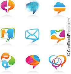 ikony, media, zbiór, mowa, towarzyski, bańki