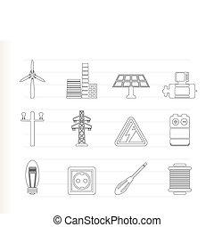 ikony, moc, elektryczność
