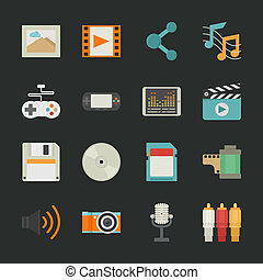 ikony, multimedia