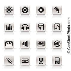 ikony, muzyka, odgłos, prosty