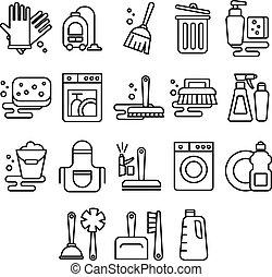 ikony, myć, myć, janowiec, wiadro, pralnia, świeżość, wektor...