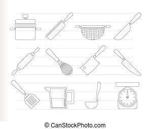 ikony, narzędzia, wyposażenie, gotowanie