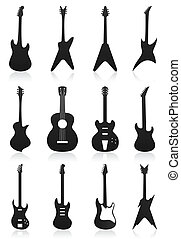 ikony, od, gitary, od, czarnoskóry, colour., niejaki, wektor, ilustracja