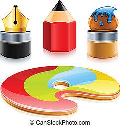 ikony, od, instrumenty sztuki, pióro, ołówek, i, szczotka