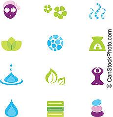 ikony, odizolowany, wektor, zdrój, natura, wellness, biały