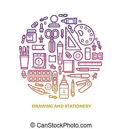 ikony, okrągły, jasny, materiały piśmienne, kreskówka