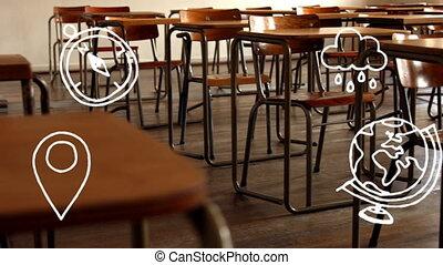 ikony, opróżniać, klasa, pojęcie, szkoła, przeciw
