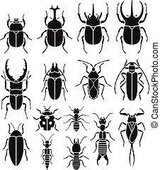 ikony, owad, wektor, set., illustrations.
