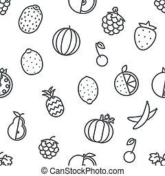 ikony, owoc, przeźroczysty, seamless, sztuka, tło, ilustracja, komplet, wektor, projektować, kreska, płaski