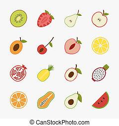 ikony, owoc, tło, biały