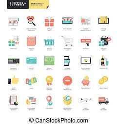 ikony, płaski, e-handel, projektować