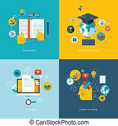 ikony, płaski, pojęcie, wykształcenie