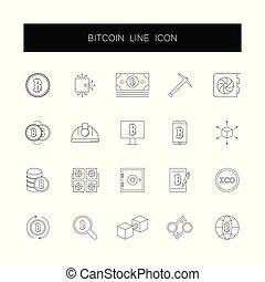 ikony, pack., set., kreska, bitcoin