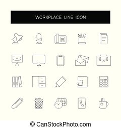 ikony, pack., set., kreska, miejsce pracy