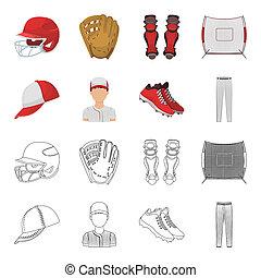 ikony, pień, styl, symbol, korona, rysunek, web., bitmapa, accessories., ilustracja, szkic, bejsbolista, inny, komplet, zbiór