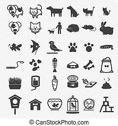 ikony, pieszczoch, komplet, eps10, ilustracja