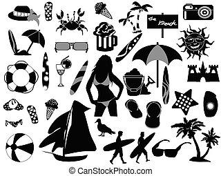 ikony, plaża, tło, biały