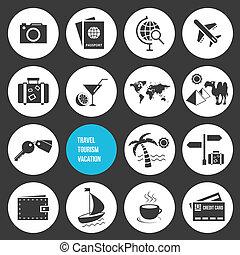 ikony, podróż, komplet, wektor, turystyka