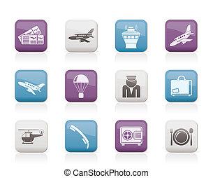 ikony, podróż, lotnisko
