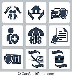 ikony, polisa, handlowe ubezpieczenie, życie, podróż, ryzyko, depozyt, rodzina, wektor, ubezpieczenie, towary, set:, dom, auto