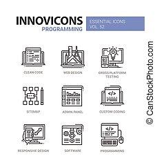 ikony, programowanie, set., nowoczesny, -, wektor, ...