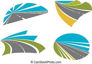 ikony, projektować, podróżowanie, drogi, szybki, szosa