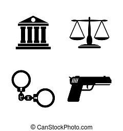 ikony, prosty, justice., powinowaty, wektor, prawo