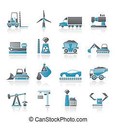ikony, przemysł, handlowy