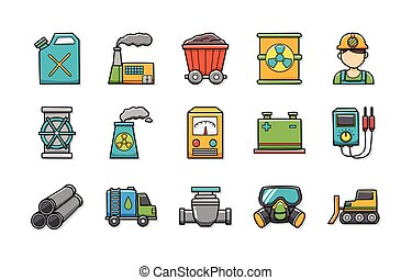 ikony, przemysł, komplet, eps10, fabryka