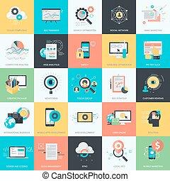 ikony, rozwój sieći, projektować, płaski