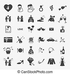 ikony, set., ilustracja, ślub