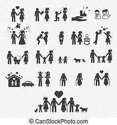 ikony, set., ilustracja, rodzina