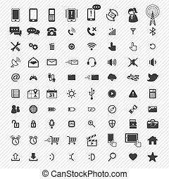 ikony, set., ilustracja, ruchomy