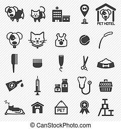 ikony, set., ilustracja, troska, pieszczoch