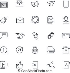 ikony, set., na, kontakt, wektor, pack., kreska