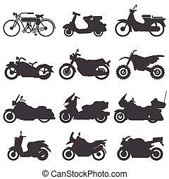 ikony, set., wektor, illustration., motocykl