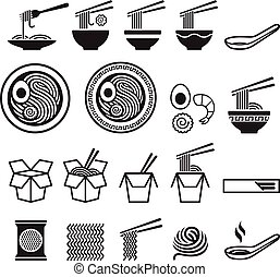 ikony, set., wektor, illustrations., makaron