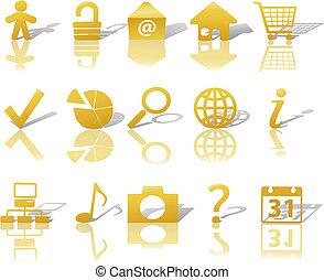 ikony, sieć, cienie, złoty, 1, komplet, relections, &, biały
