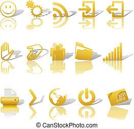 ikony, sieć, cienie, złoty, 2, komplet, relections, &, biały