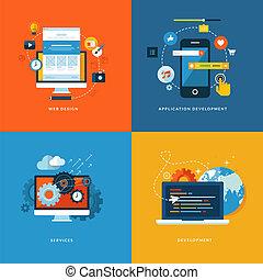ikony, sieć, flet, rozwój