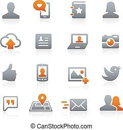 ikony, sieć, grafit, towarzyski