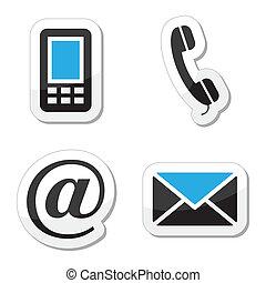 ikony, sieć internet, komplet, kontakt