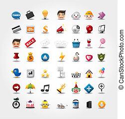 ikony, sieć internet, komplet, website, &, ikony