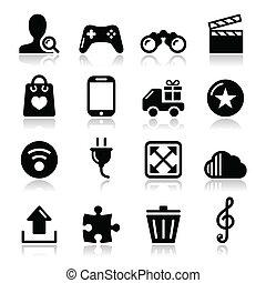 ikony, sieć internet, -, komplet, wektor