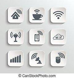 ikony, sieć, komplet, radiowy, wi-fi