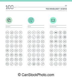 ikony, sieć, komplet, technologia