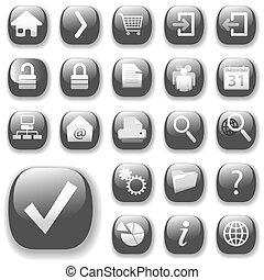 ikony, sieć, kropla cienie, szary